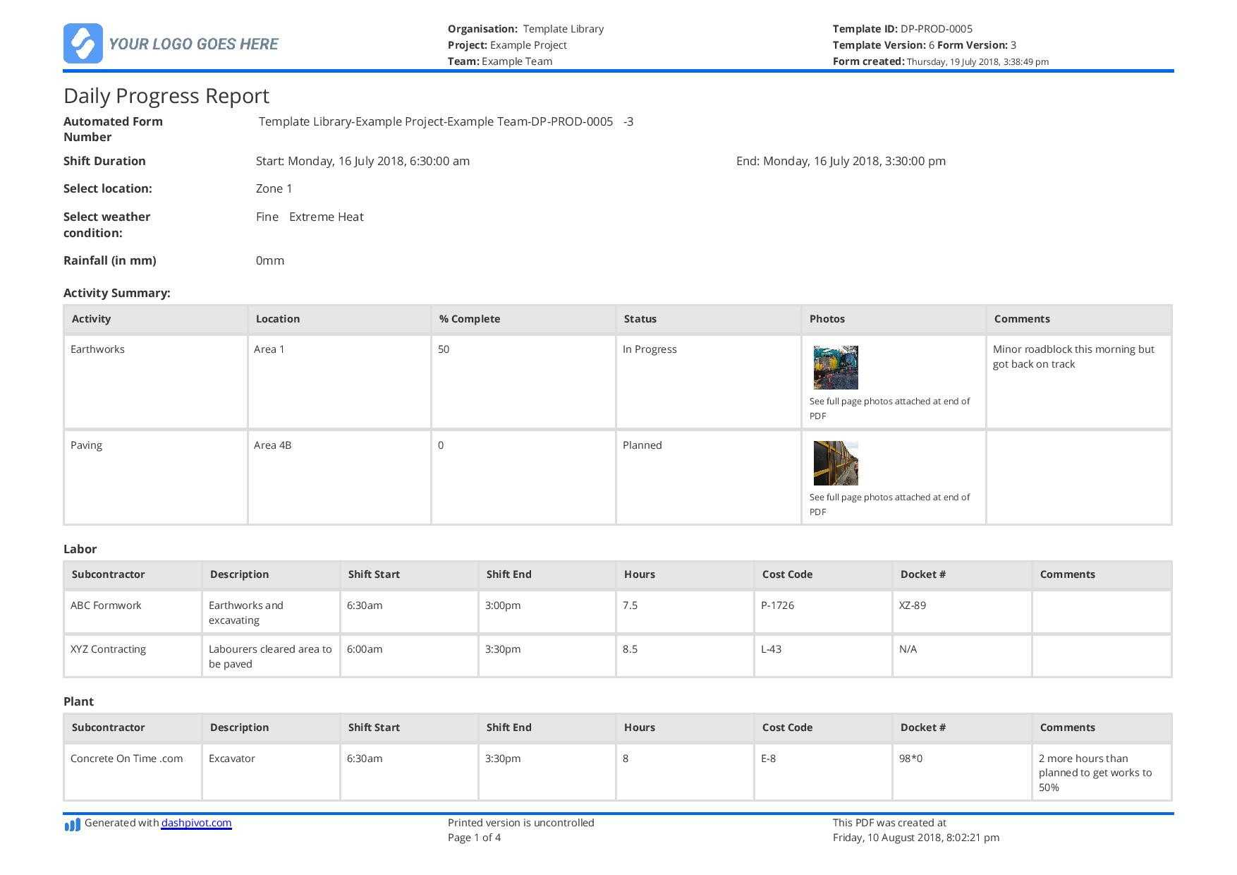 Daily Report Template Excel Unique Free Construction Daily Inside Free Construction Daily Report Template