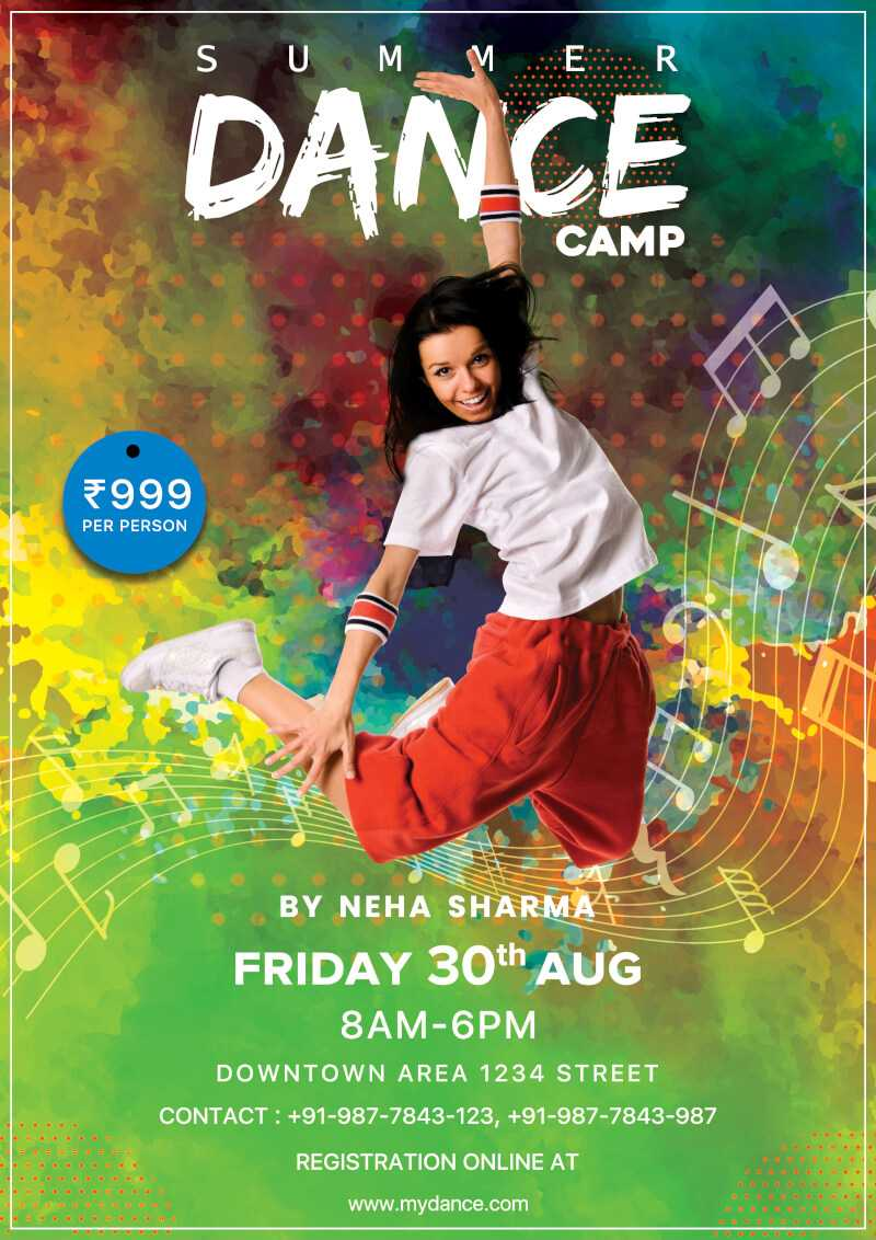 Dance Camp Flyer Free Psd Template | Psddaddy Regarding Dance Flyer Template Word