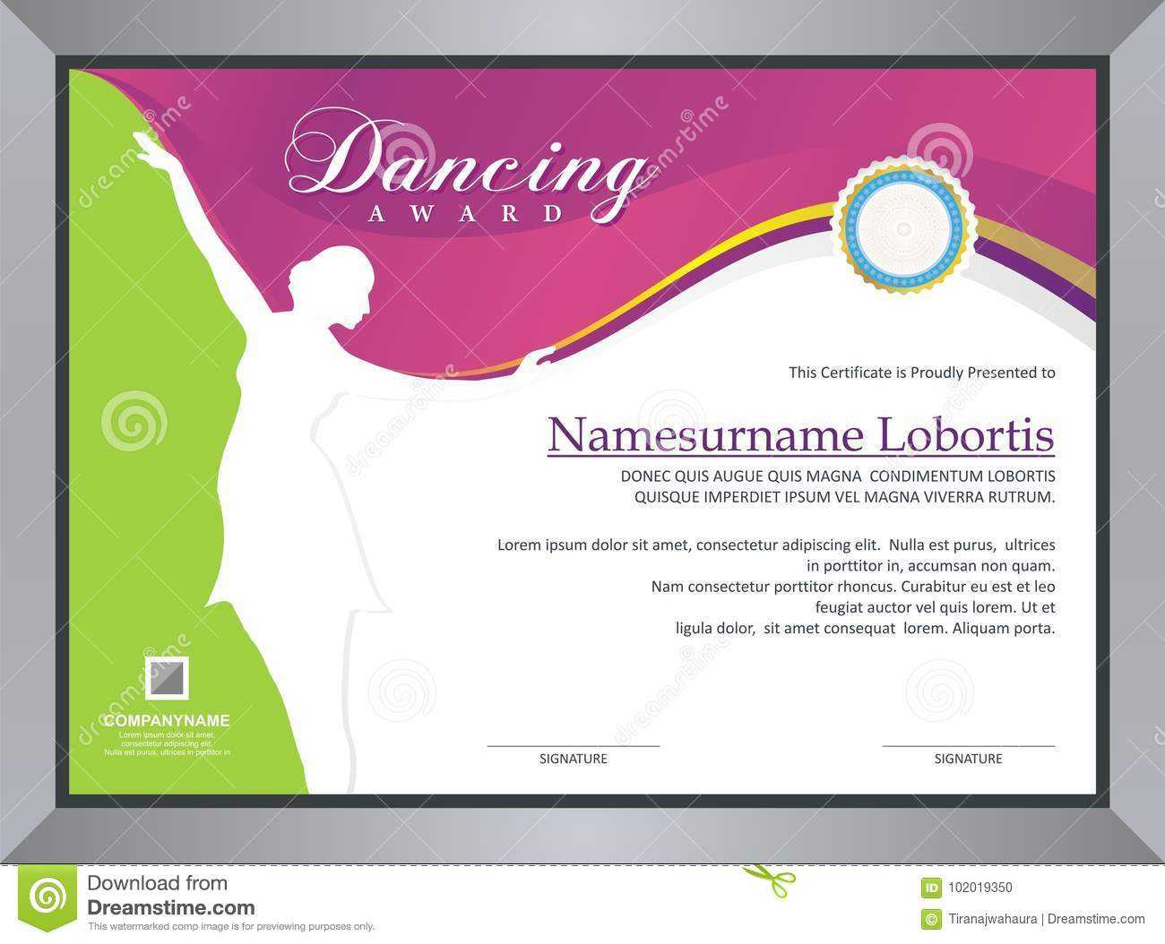 Dancing Award Stock Vector. Illustration Of Competition For Dance Certificate Template