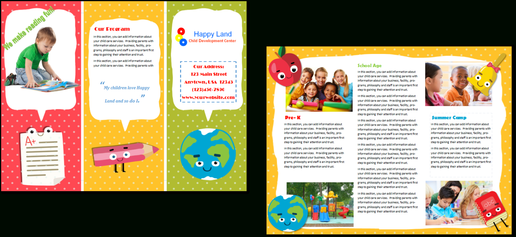 Daycare Brochure Samples – Colona.rsd7 Intended For Daycare Flyers Templates Free