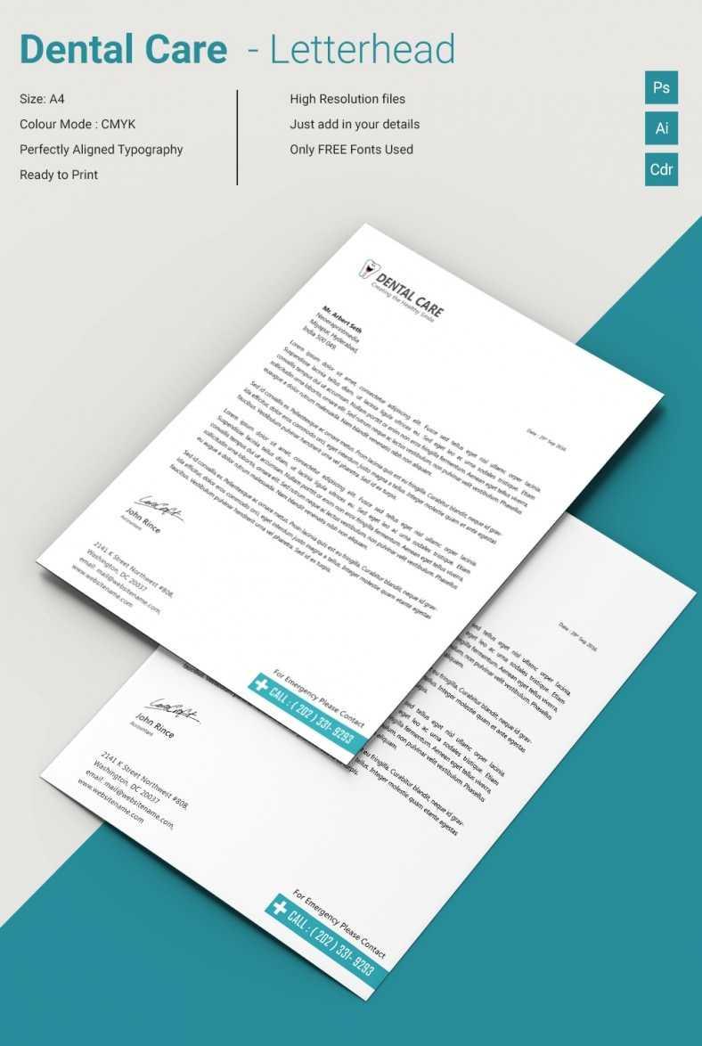 Dazzling Dental Care A4 Letterhead Template   Free & Premium For Free Medical Letterhead Template