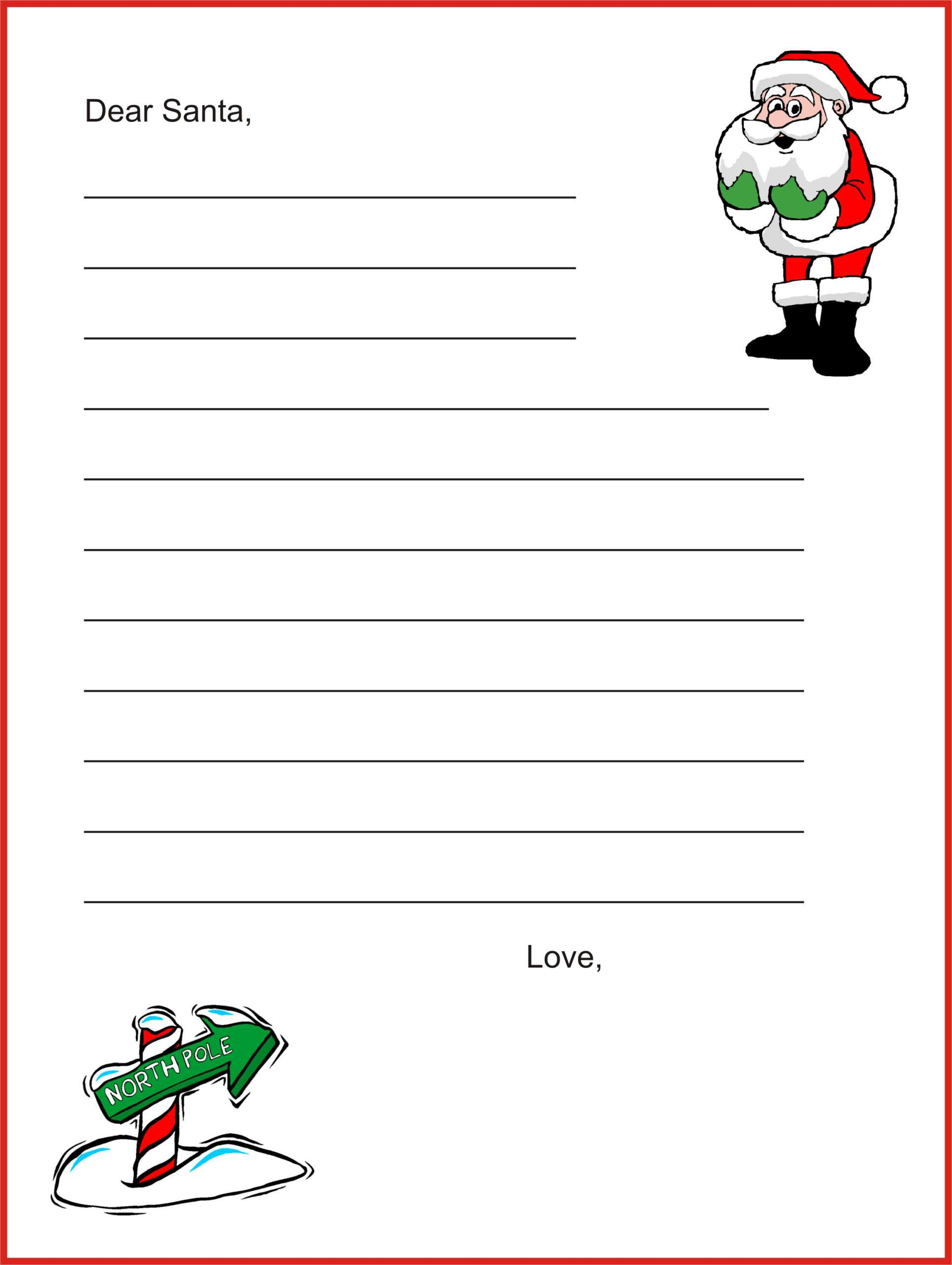 Dear Santa Letter | For Christmas Letter Templates Free Printable