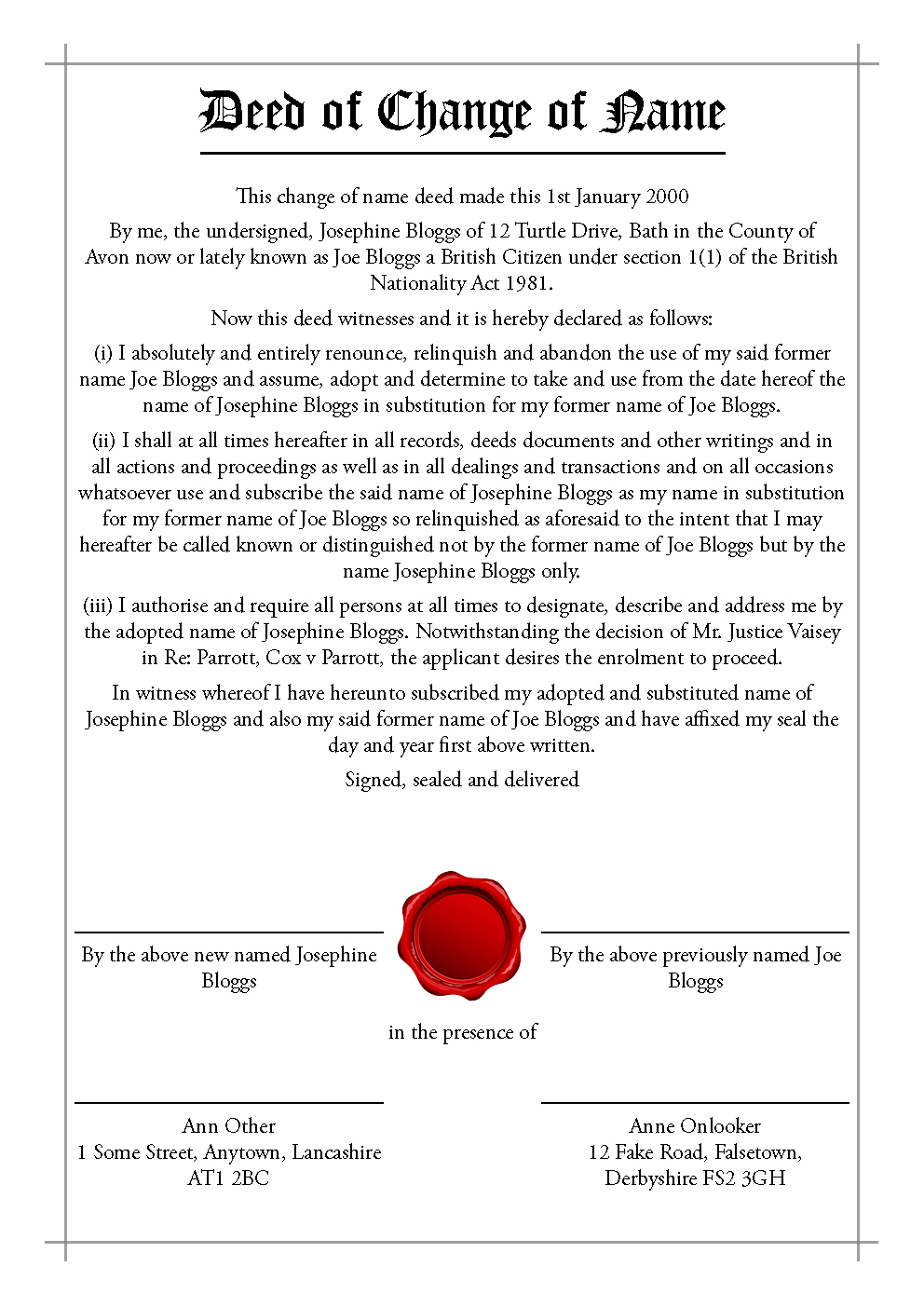 Deed Polls And Stat Decs - Transfigurations Inside Deed Poll Name Change Letter Template