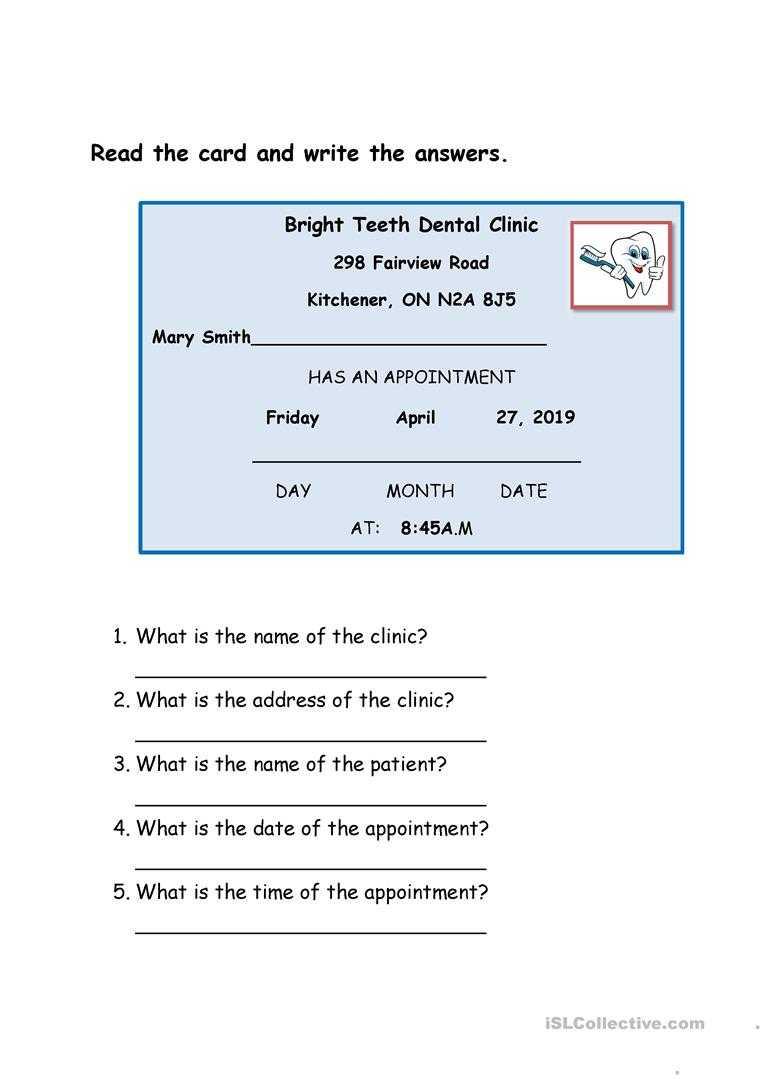 Dentist Appointment Card - English Esl Worksheets Throughout Dentist Appointment Card Template