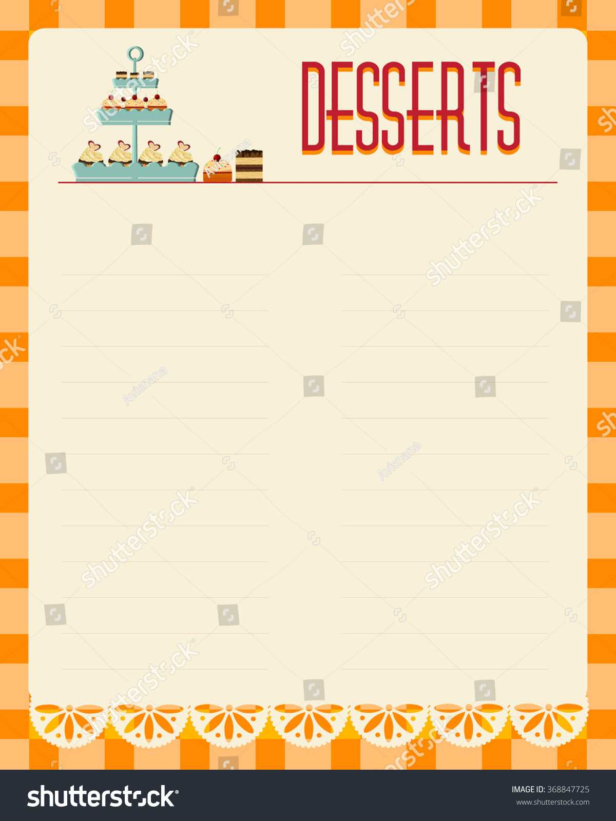 Desserts Blank Menu Template Retro Style Stock Vector Intended For Empty Menu Template