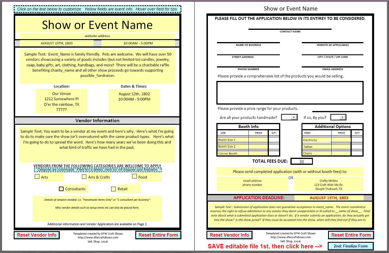 Dfwcraftshows: Vendor Applications :: Part Iii - The Template Regarding Event Vendor Application Template