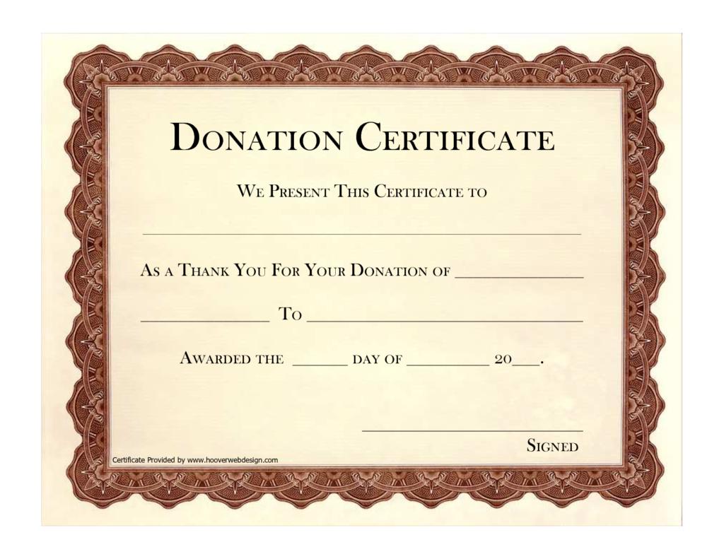 Donation Certificate Template | Certificate Templates Intended For Donation Certificate Template