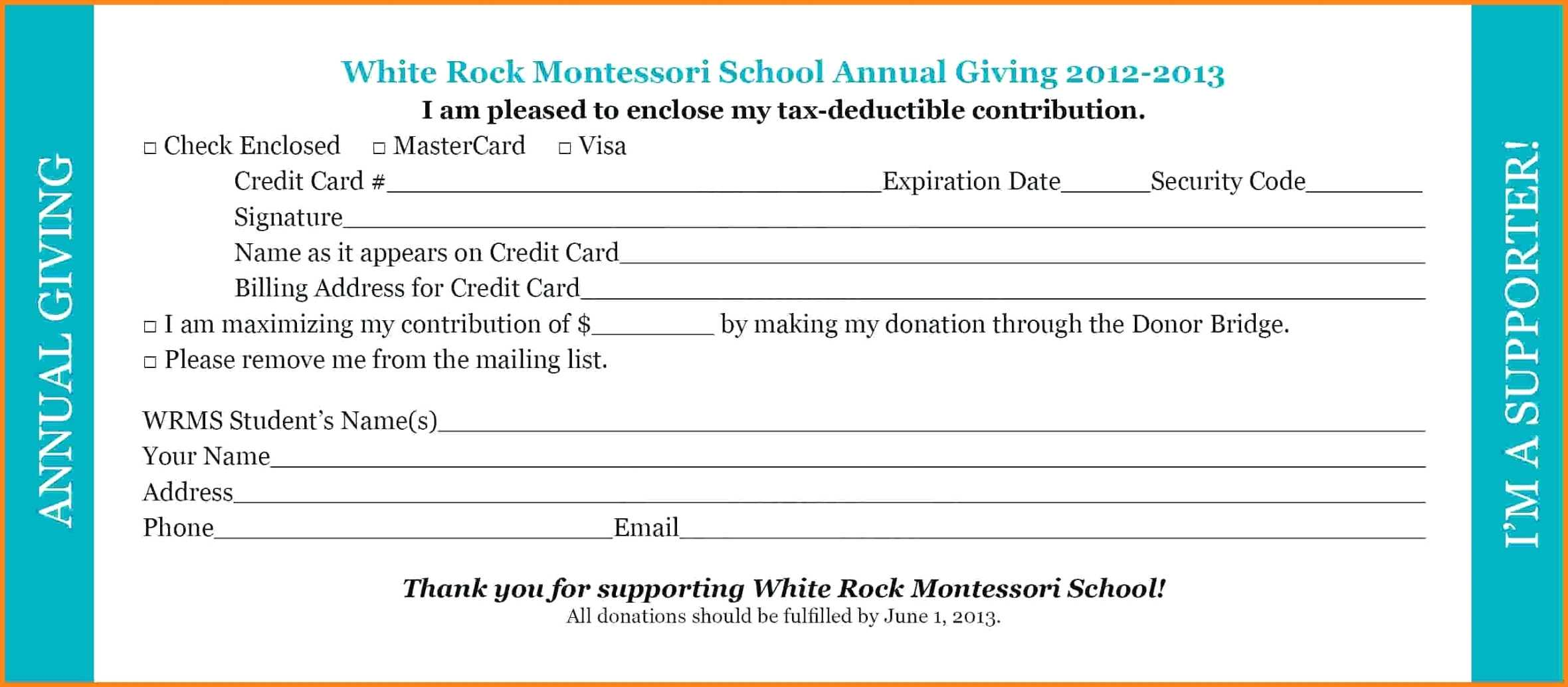 Donation Pledge Card Template - Tunu.redmini.co With Donation Card Template Free
