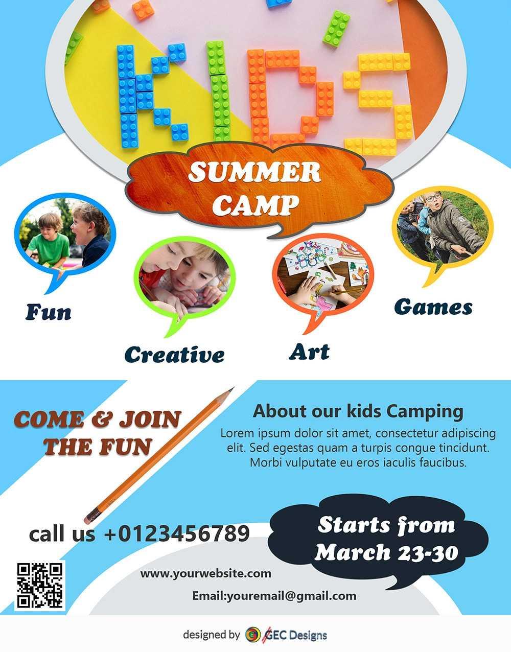 Download Free Kids Summer Camp Flyer Design Templates Intended For Free Summer Camp Flyer Template