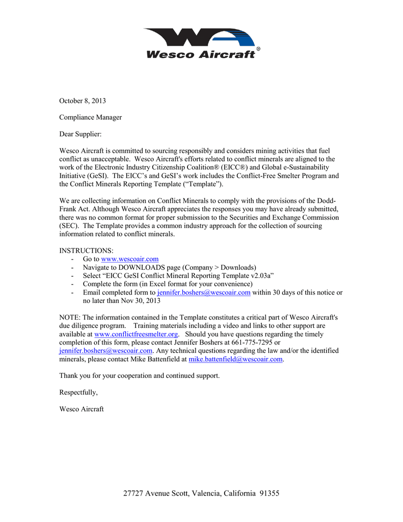 Eicc Gesi Conflict Mineral Reporting Notice Oct 2013 Regarding Eicc Conflict Minerals Reporting Template