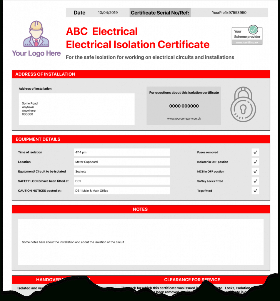 Electrical Isolation Certificate | Send Unlimited Pertaining To Electrical Isolation Certificate Template