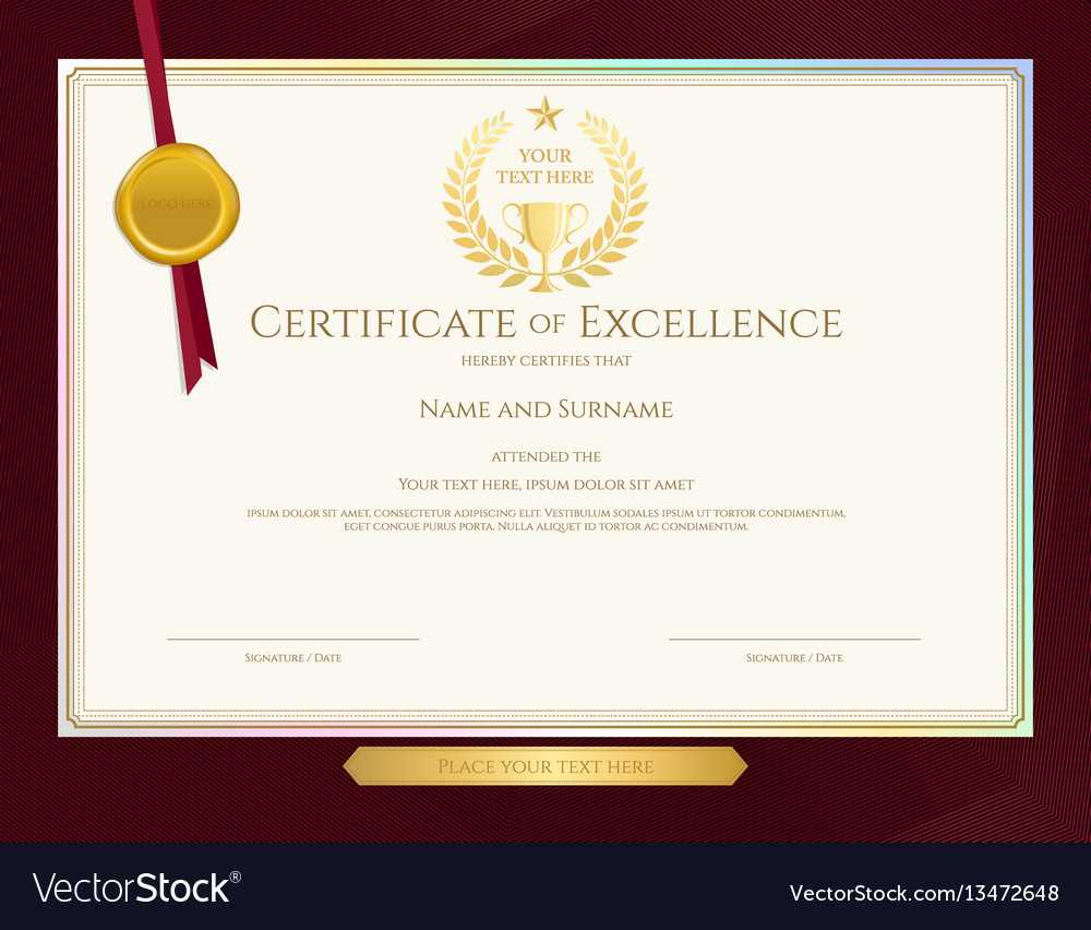 Elegant Certificate Template For Excellence Regarding Elegant Certificate Templates Free