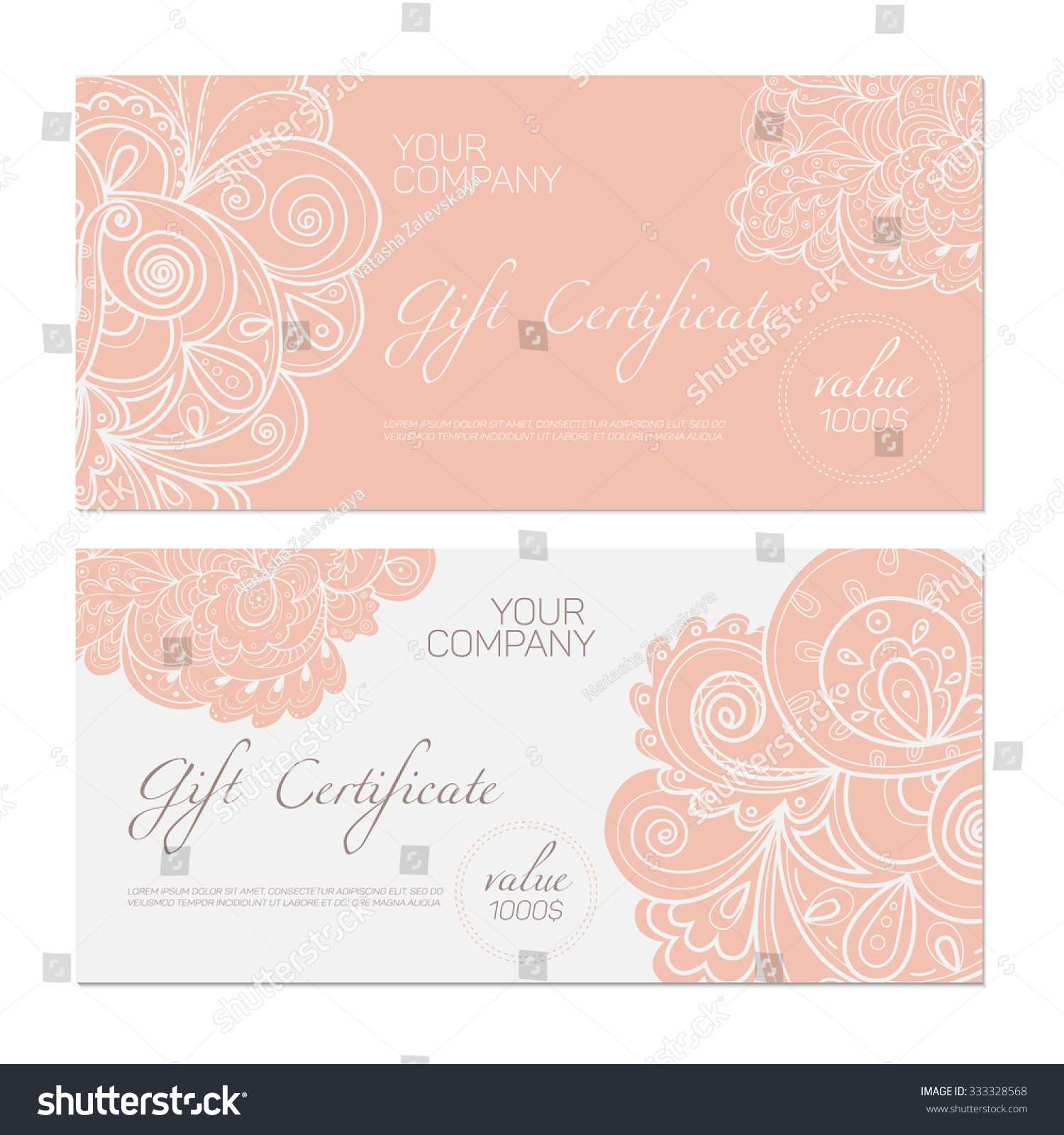 Elegant Gift Certificate Template Abstract Ornamental Within Elegant Gift Certificate Template
