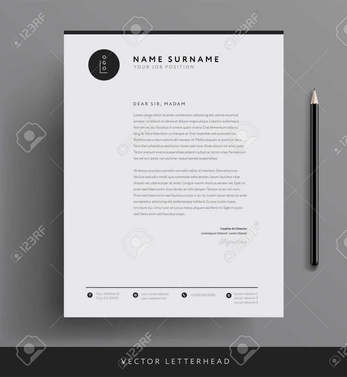 Elegant Letterhead Template Design With Elegant Letterhead Template