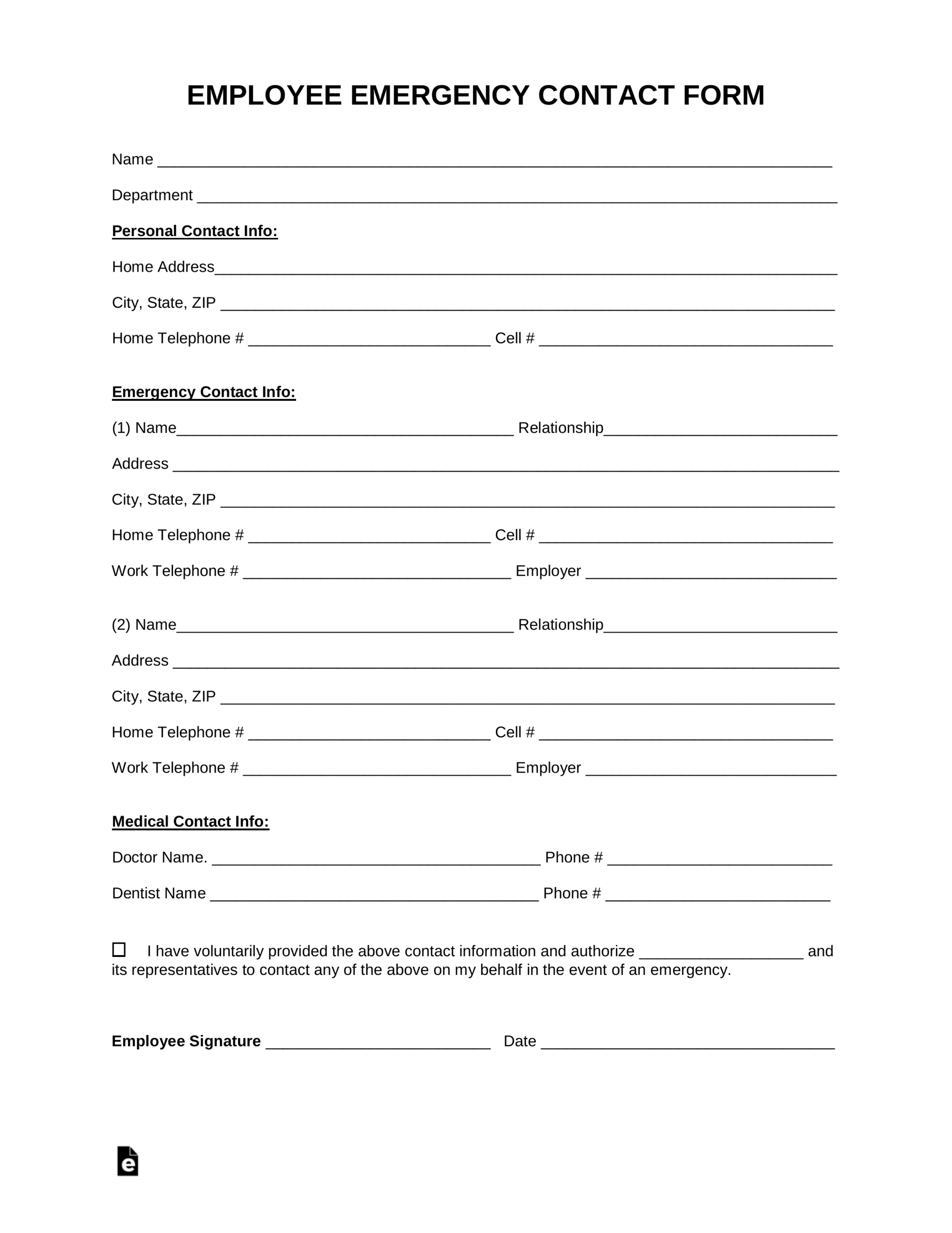Emergency Contact Form Word Doc - Tunu.redmini.co Throughout Employee Card Template Word