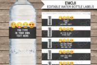 Emoji Party Water Bottle Labels Template – Girls with Free Printable Water Bottle Labels Template