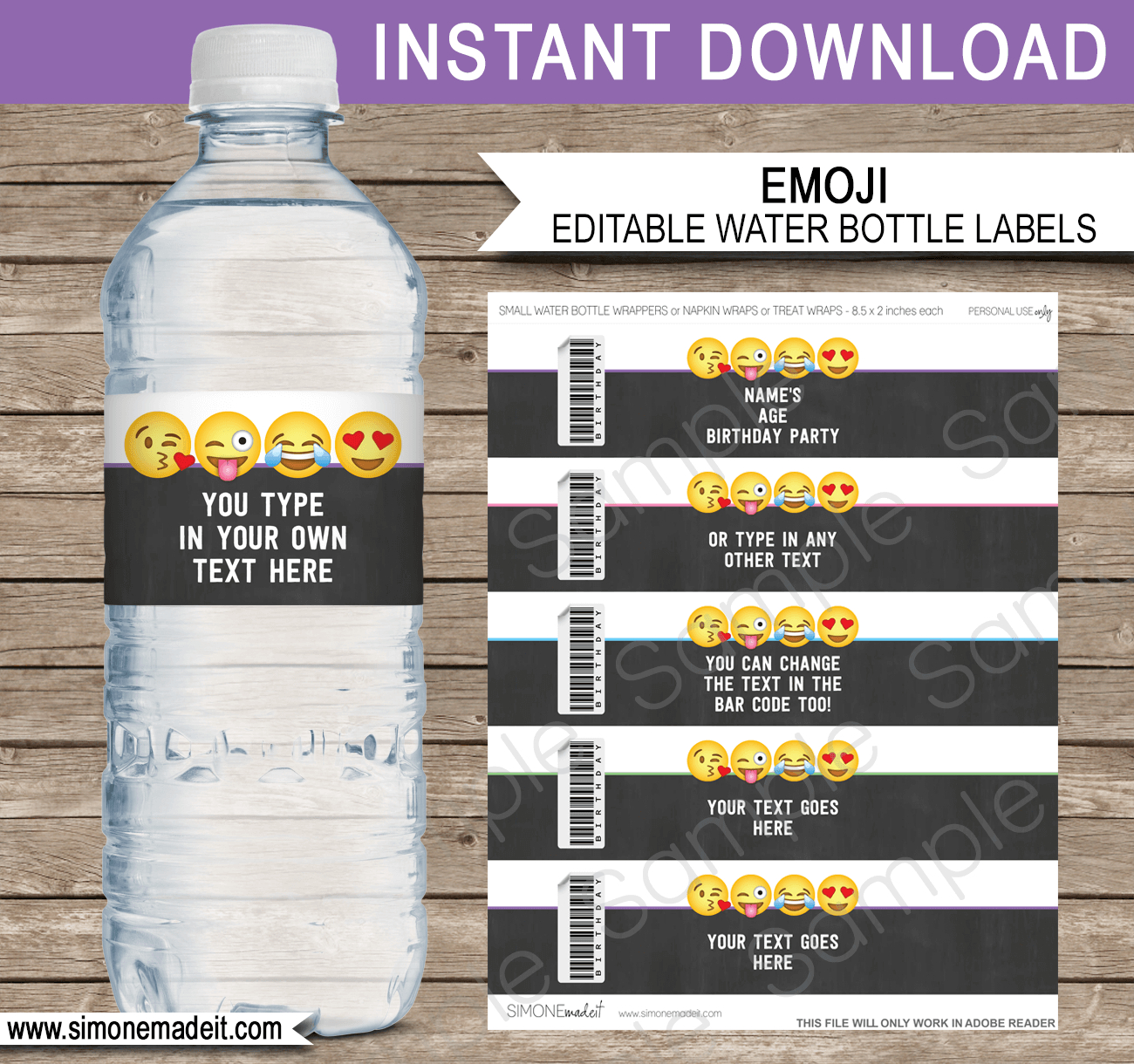 Emoji Party Water Bottle Labels Template – Girls Within Diy Water Bottle Label Template
