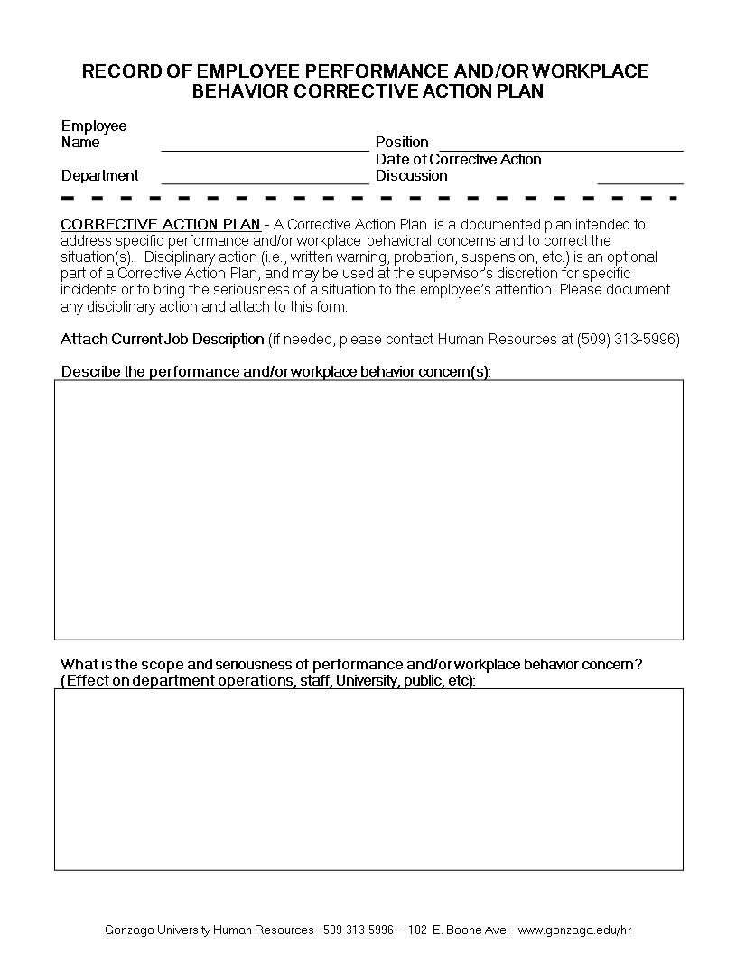 Employee Corrective Action Plan | Templates At In Employee Corrective Action Plan Template