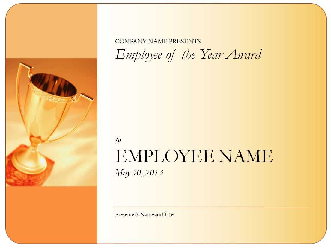 Employee Of The Year Certificate Pertaining To Employee Of The Year Certificate Template Free