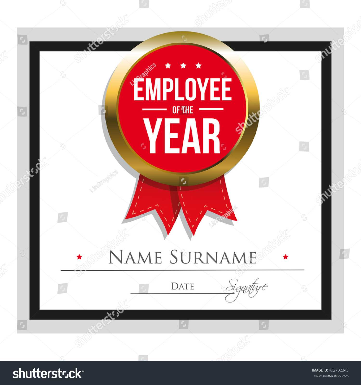 Employee Year Certificate Template Stock Vector (Royalty For Employee Of The Year Certificate Template Free
