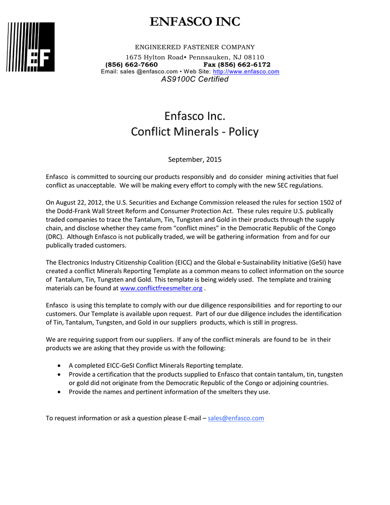 Enfasco Inc Enfasco Inc. Conflict Minerals - Policy Intended For Eicc Conflict Minerals Reporting Template