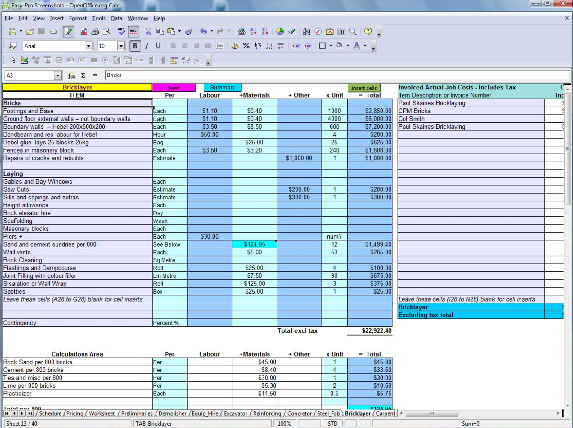 Estimate For Construction - Colona.rsd7 With Construction Estimating Spreadsheet Template
