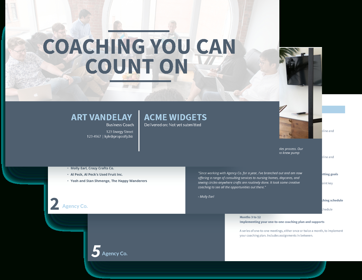 Executive Coaching Proposal Template – Free Sample   Proposify Inside Coaches Report Template
