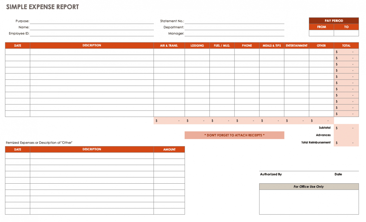 Expense Report Spreadsheet Pertaining To Expense Report Template Xls