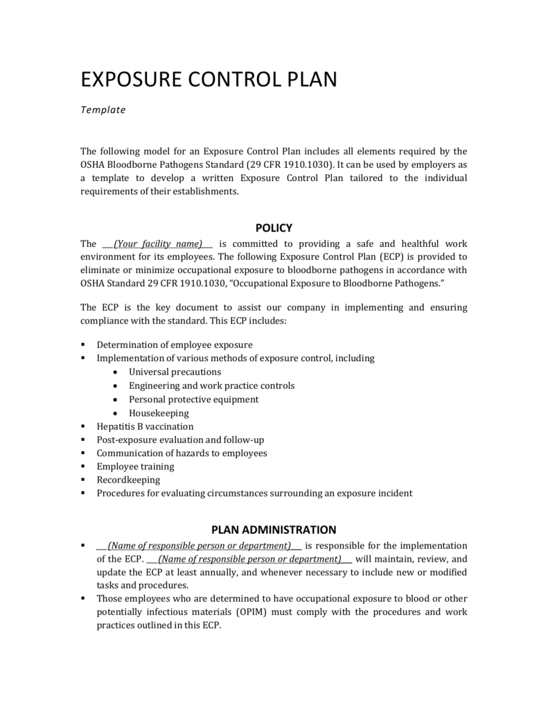 Exposure Control Plan Template Regarding Exposure Control Plan Template