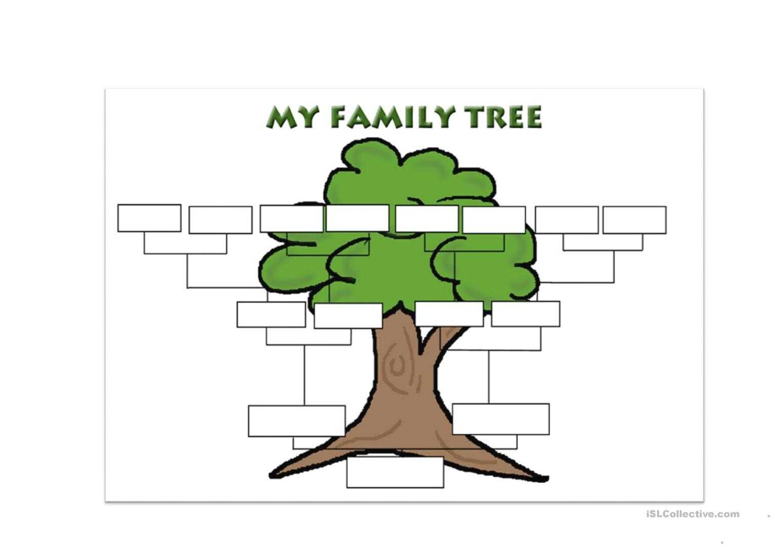 Family Tree Template - English Esl Worksheets Inside Fill In The Blank Family Tree Template