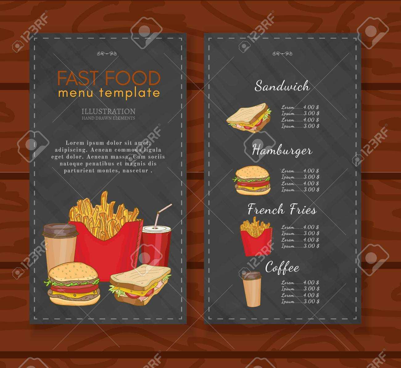 Fast Food Menu Design Template Fast Food Vector Pertaining To Fast Food Menu Design Templates