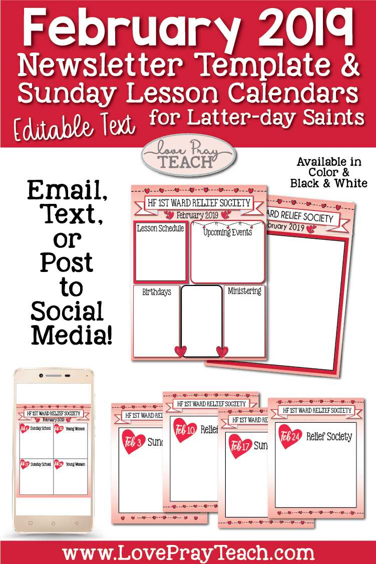 February 2019 Editable Newsletter Template And Sunday Lesson In February Newsletter Template