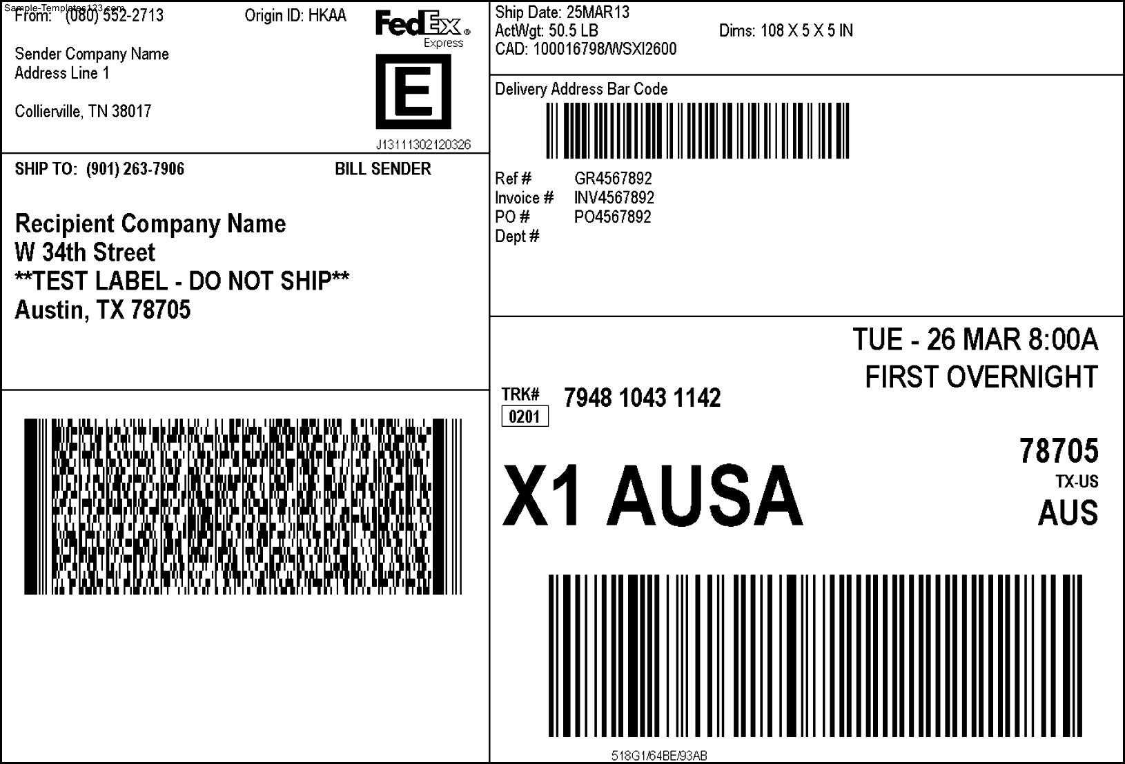 Fedex Shipping Label – Sample Templates – Sample Templates With Regard To Fedex Label Template Word