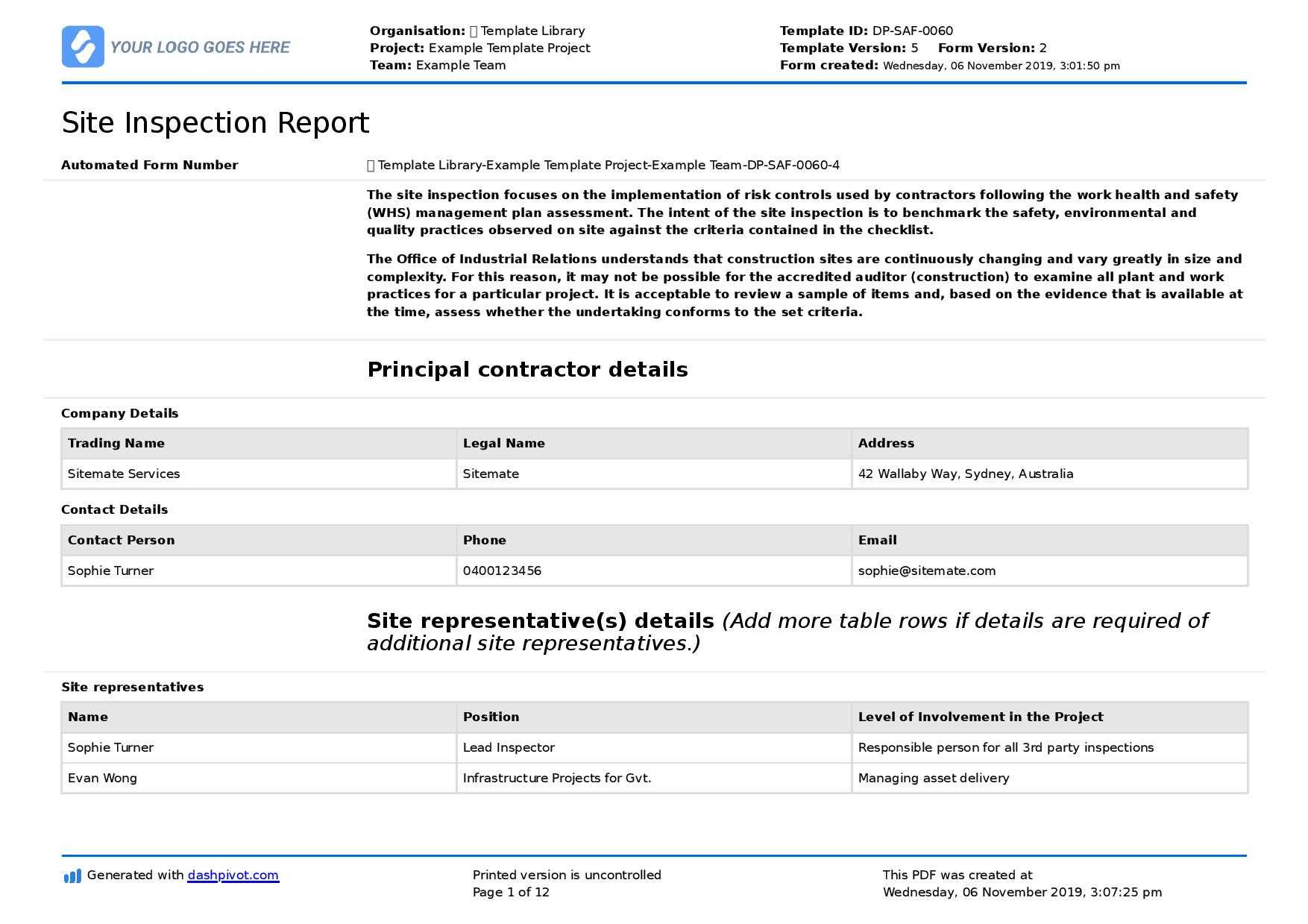Field Inspection Report Template (Free To Use And Better For In Field Report Template