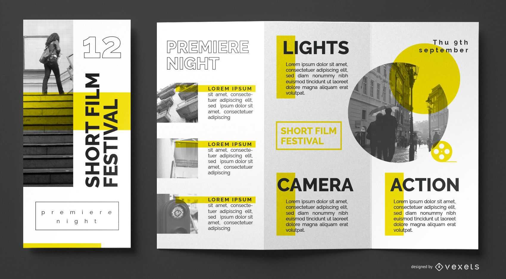 Film Festival Brochure Template - Vector Download For Film Festival Brochure Template