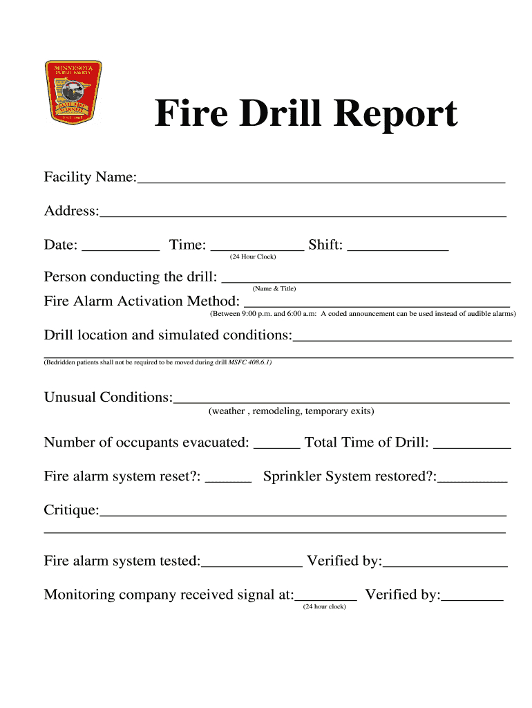 Fire Drill Report Template - Fill Online, Printable With Regard To Emergency Drill Report Template