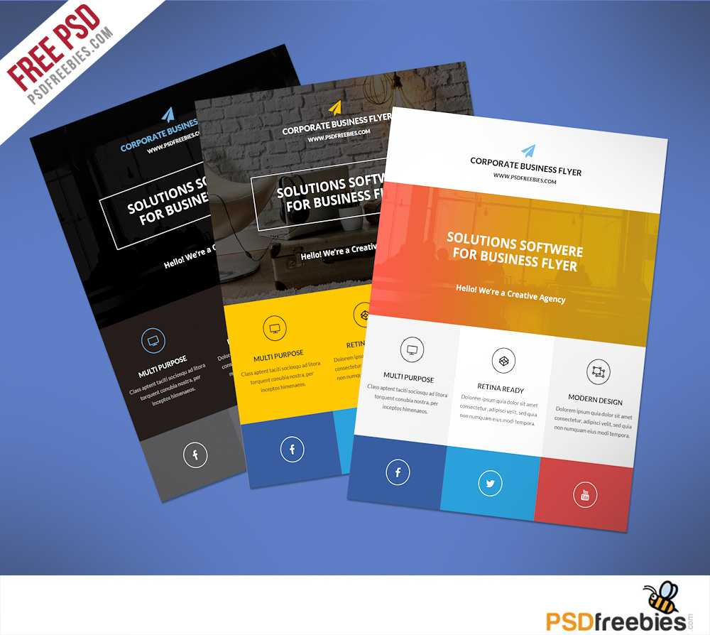 Flat Clean Corporate Business Flyer Free Psd | Psdfreebies In Free Downloadable Flyer Templates
