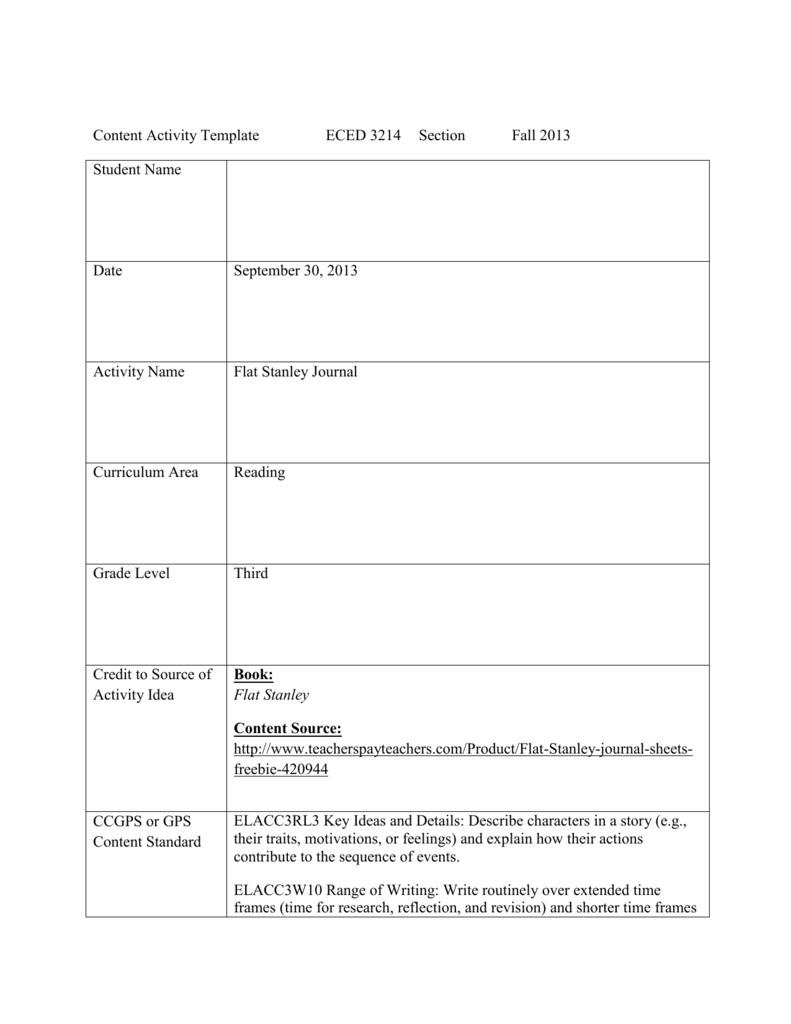 Flat Stanley 3Rd Regarding Flat Stanley Letter Template