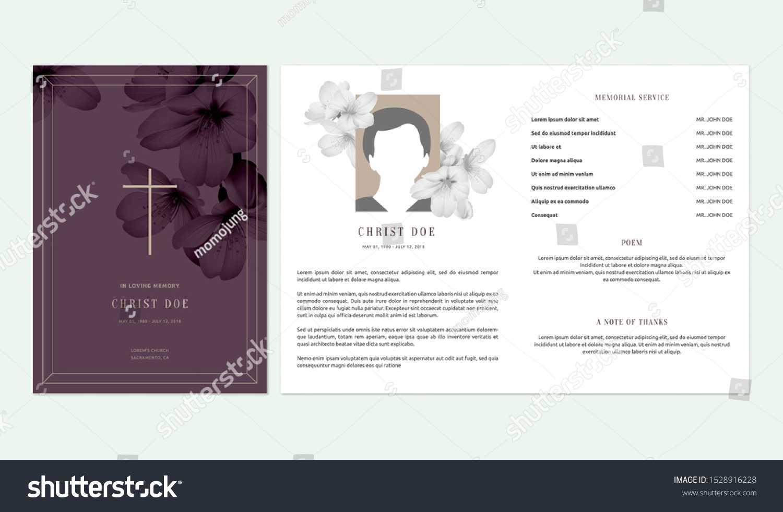 Floral Memorial Funeral Invitation Card Template Stock With Funeral Invitation Card Template