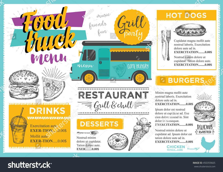 Food Truck Festival Menu Brochure Street Stock Vector Throughout Food Truck Menu Template