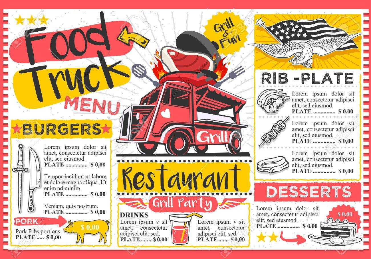 Food Truck Festival Vector Menu Template Design. In Food Truck Menu Template