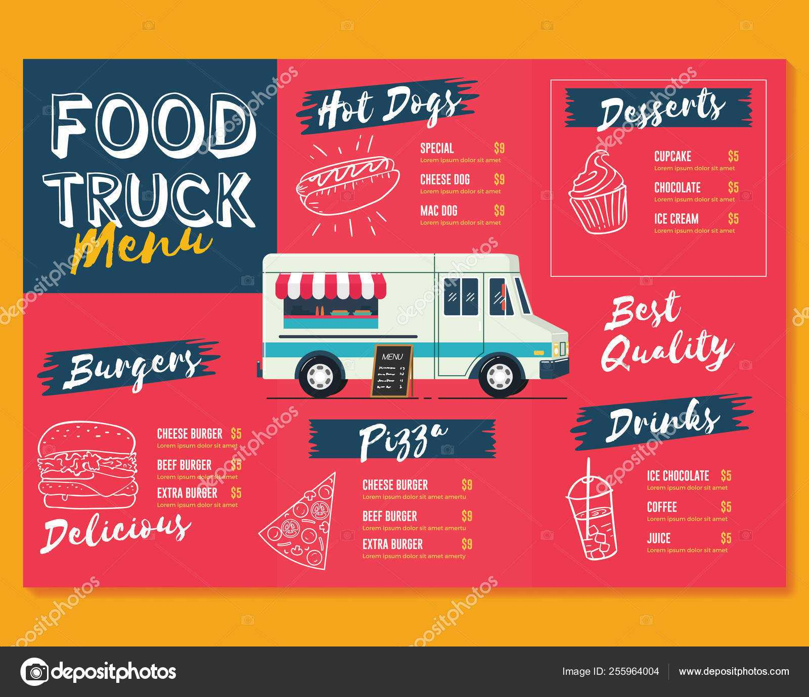 Food Truck Menu Template. Fast Food Brochure Menu — Stock With Regard To Food Truck Menu Template