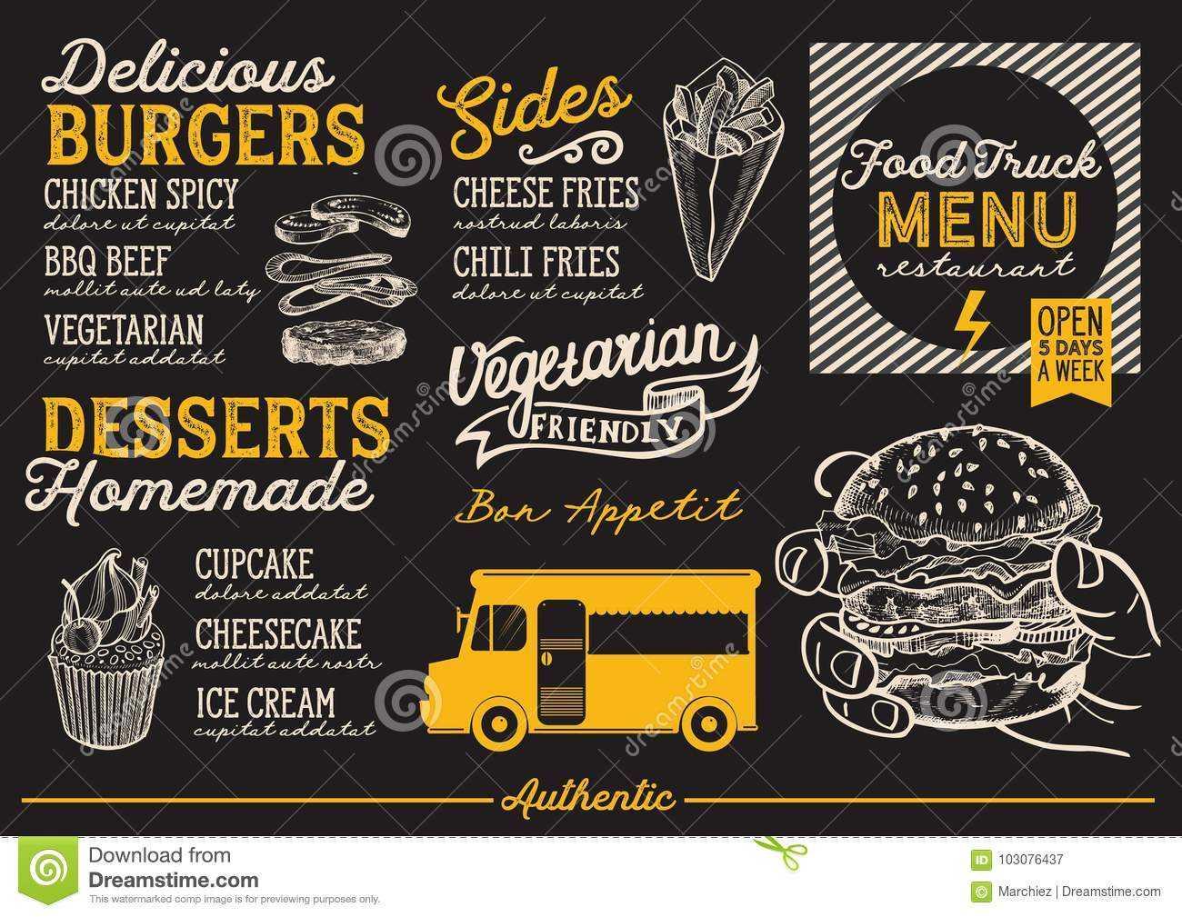 Food Truck Menu Template. Stock Vector. Illustration Of Hand Inside Food Truck Menu Template