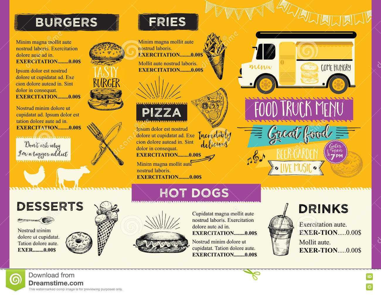 Food Truck Party Invitation. Food Menu Template Design. Food With Food Truck Menu Template
