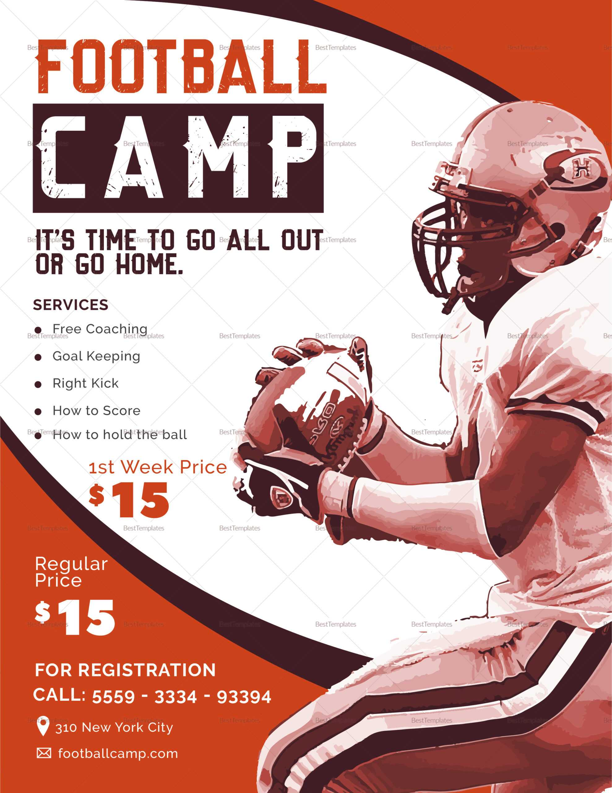 Football Camp Flyer Template Within Football Camp Flyer Template
