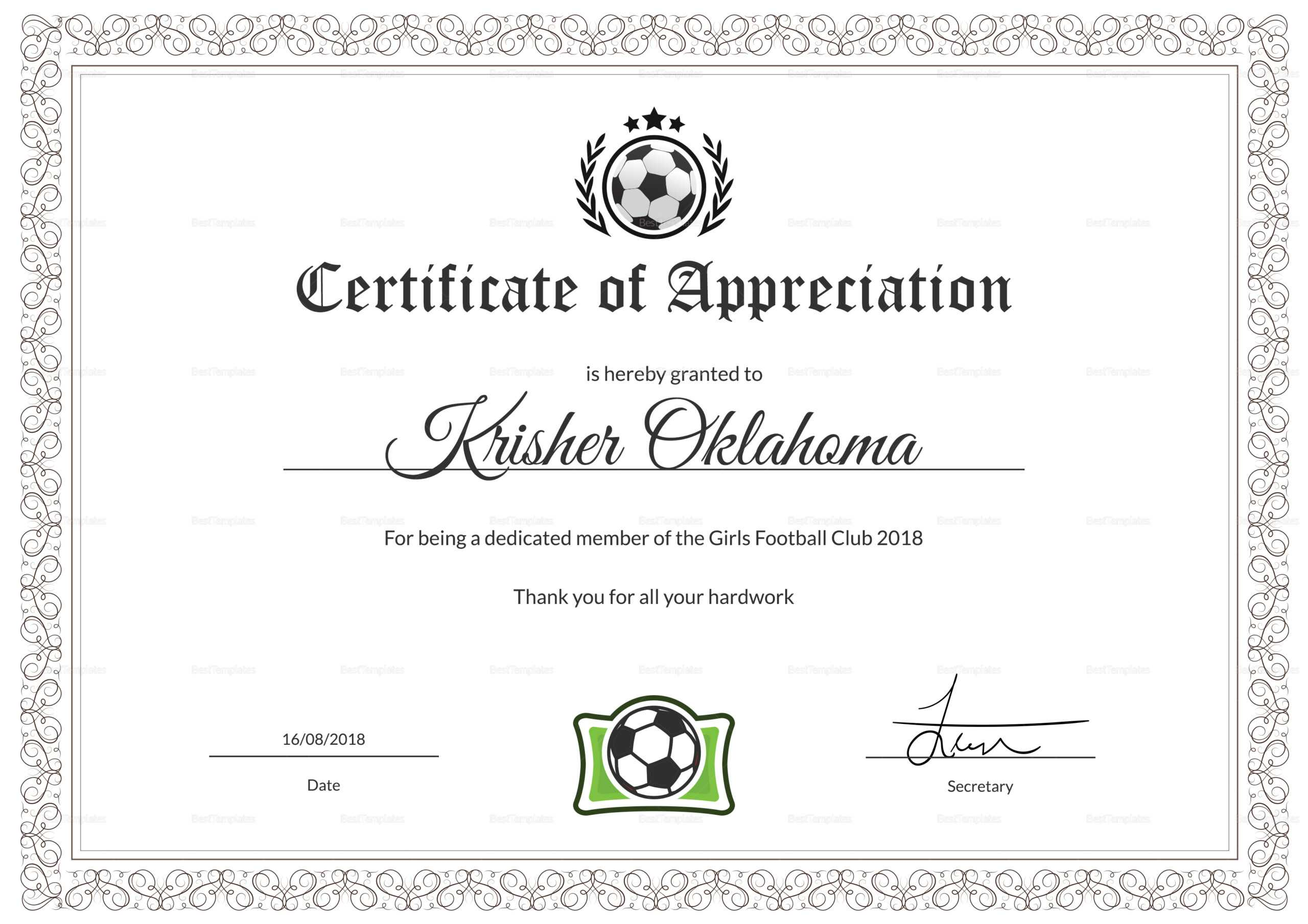 Football Certificate - Colona.rsd7 Within Football Certificate Template