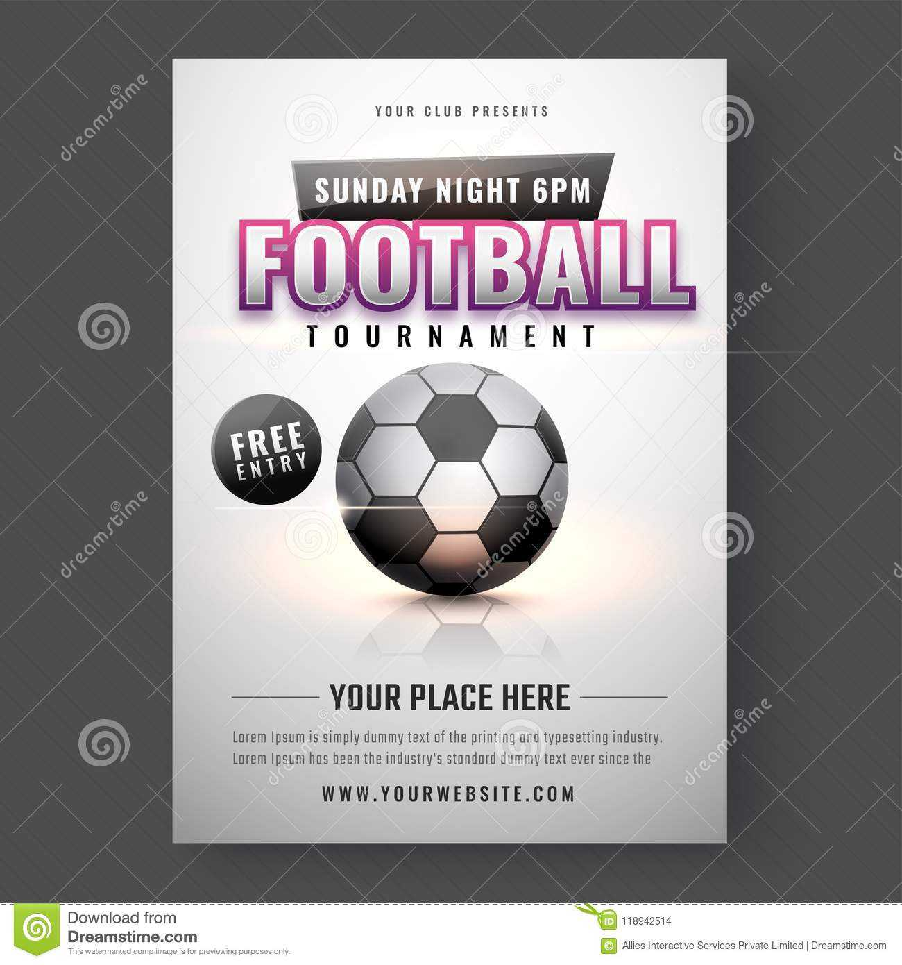 Football Tournament Template Or Flyer Design. Stock Intended For Football Tournament Flyer Template