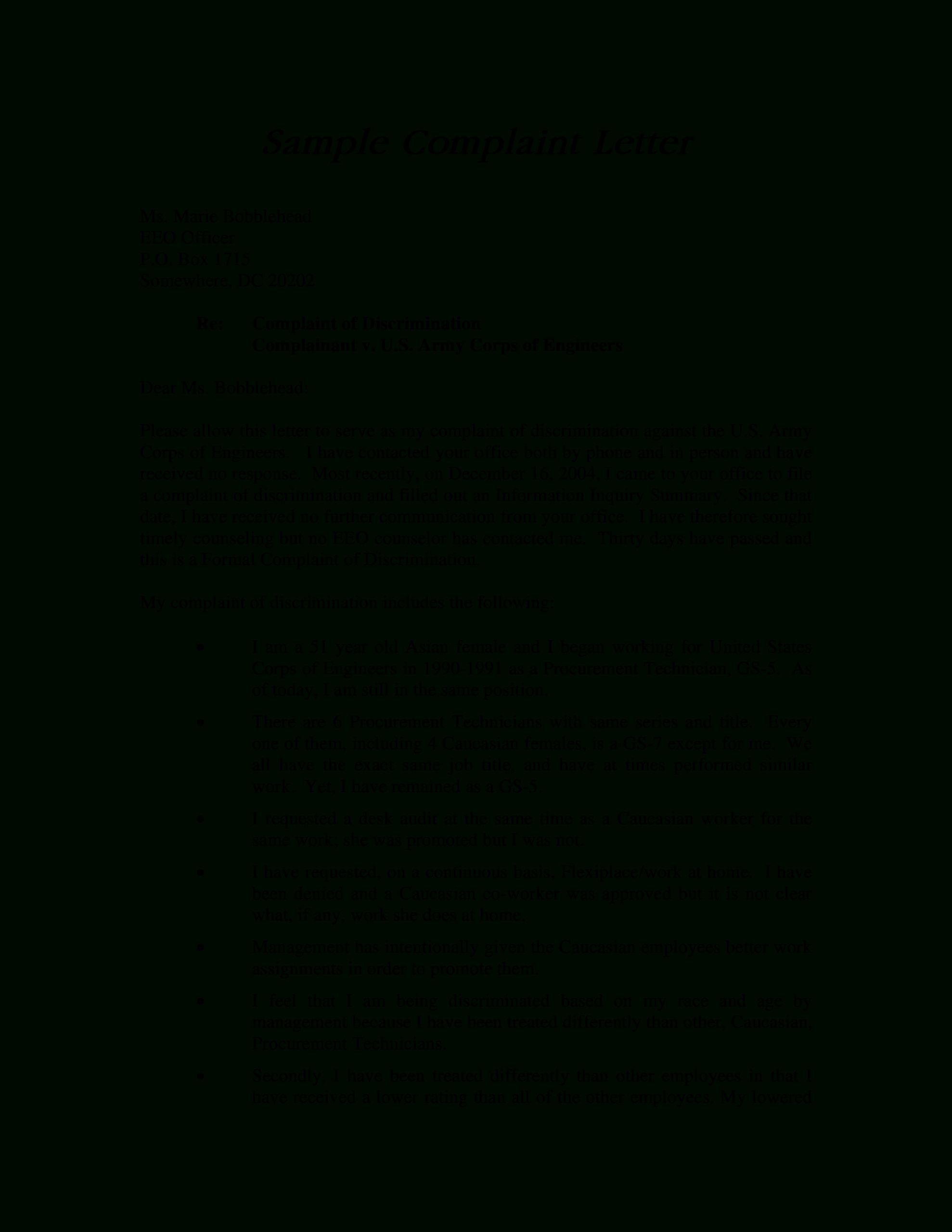 Formal Employee Discrimination Complaint Letter | Templates For Formal Letter Of Complaint To Employer Template