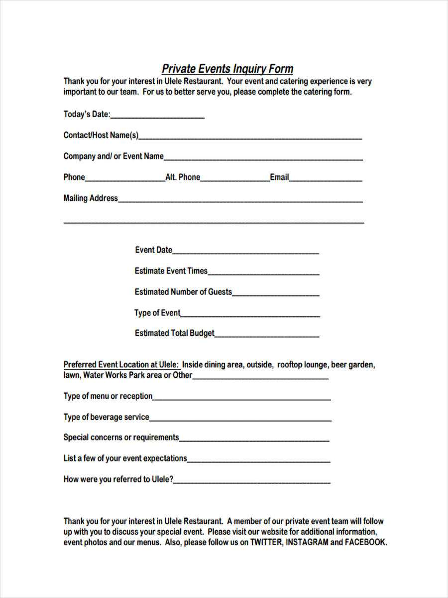 Free 6+ Event Inquiry Forms In Pdf Inside Enquiry Form Template Word