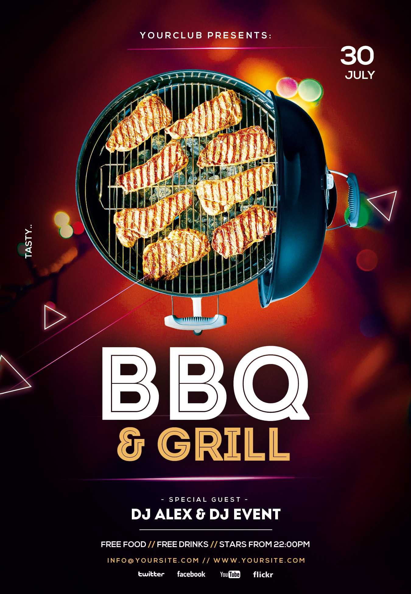 Free Bbq And Grill Psd Flyer Template - Psdflyer.co Within Free Bbq Flyer Template